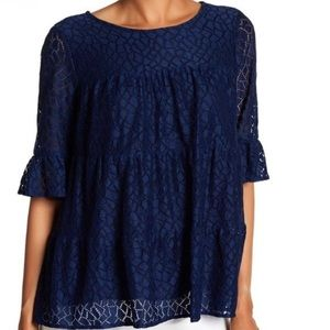 Pleione Tiered Stretch Navy Lace Blouse